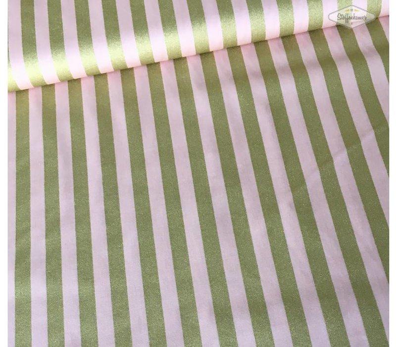 Katoen pink gold lines metallic