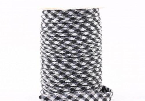 De Stoffenkamer Paspelband zwart met ruitjes