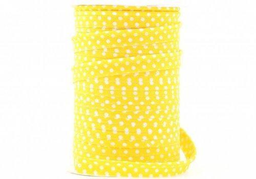 De Stoffenkamer Paspelband geel met stipjes