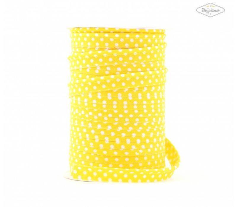 Paspelband geel met stipjes