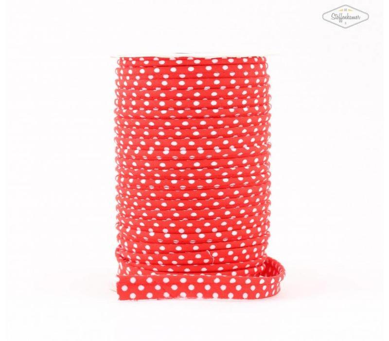 Paspelband rood met stipjes