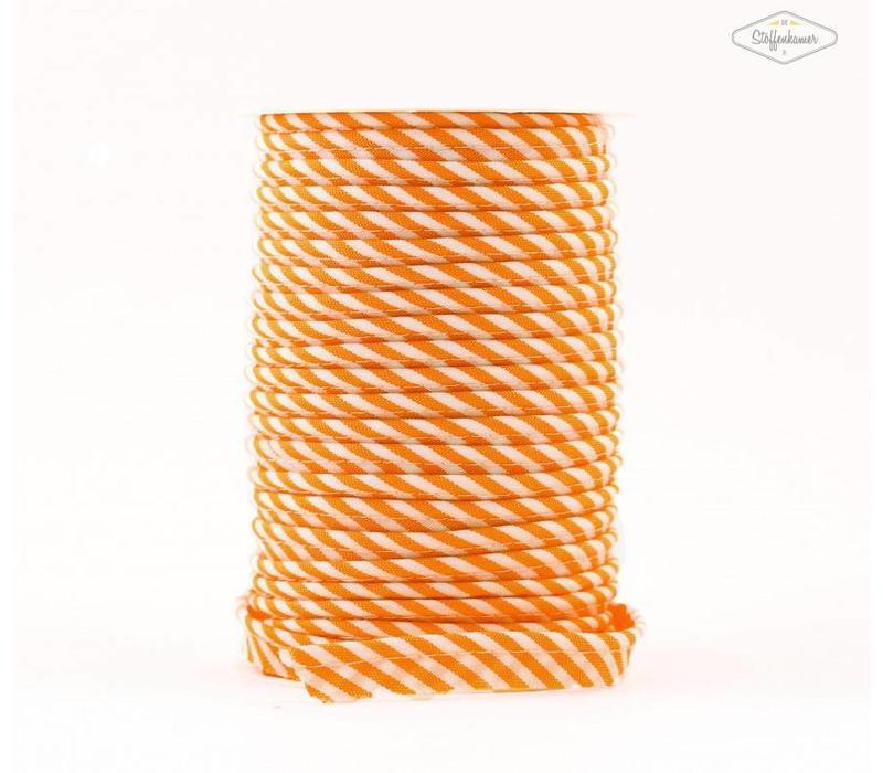 Paspelband oranje met streepjes