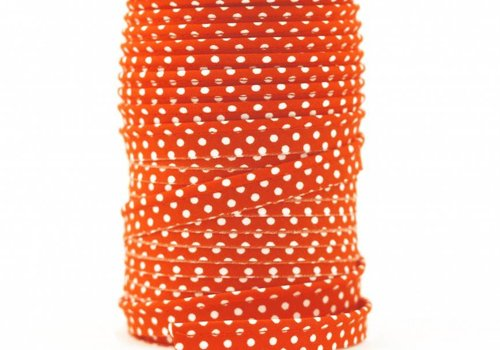 De Stoffenkamer Paspelband oranjerood met stipjes