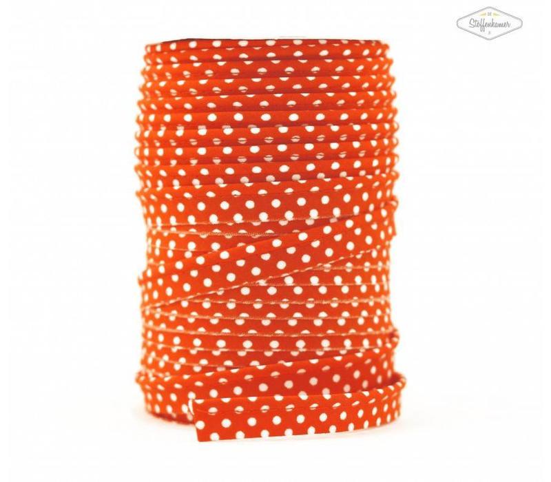 Paspelband oranjerood met stipjes