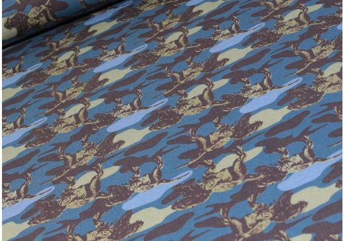Megan Blue Fabrics Tricot Dino Camouflage Blue