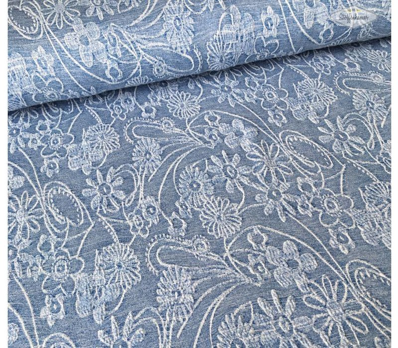Tricot relief flowers blue