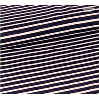 Extra dik tricot wit blauw gestreept
