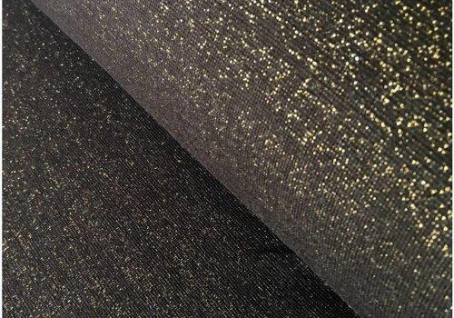 De Stoffenkamer Boordstof Glitter zwart