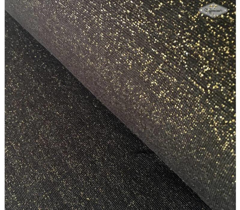 Boordstof Glitter zwart
