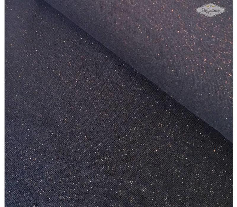 Boordstof Glitter marineblauw koper