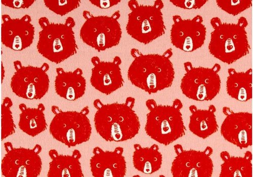 Cotton + Steel Cozy collection bears pink flanel