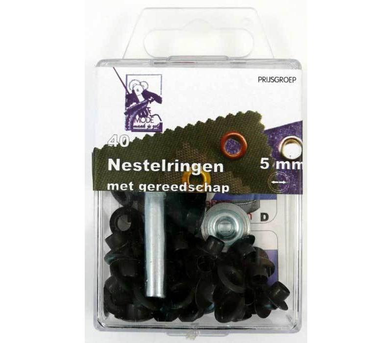 Nestelringen 5mm zwart 40st.