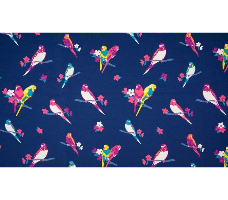 Sparkling Tricot blue parrots