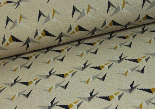 De Stoffenkamer Jacquard tricot Birdie Boom Beige