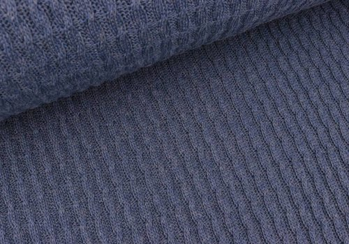 Albstoffe - Hamburgerliebe BIO Jacquard Knitty Plait Jeans Blue