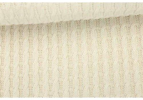 Albstoffe - Hamburgerliebe BIO Jacquard Knitty Plait Ecru
