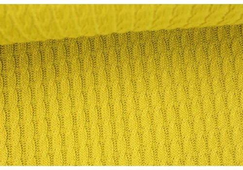 Albstoffe - Hamburgerliebe BIO Jacquard Knitty Plait Mustard Yellow
