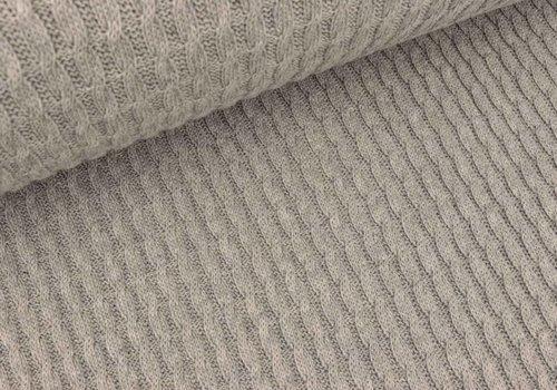 Albstoffe - Hamburgerliebe BIO Jacquard Knitty Plait Grey