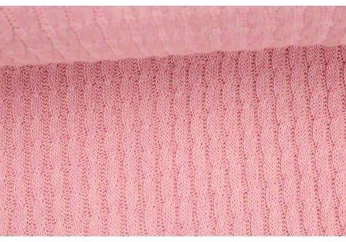 Albstoffe - Hamburgerliebe BIO Jacquard Knitty Plait Bright Pink