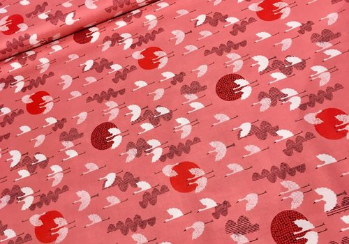 Cotton + Steel Rayon Lawn Quilt Cranes raspberry