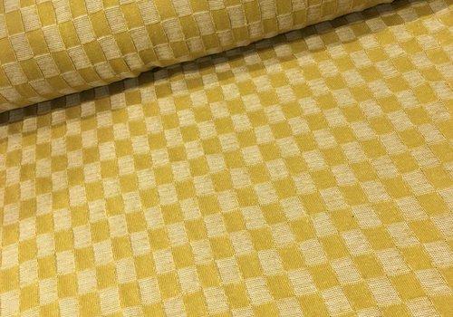 Albstoffe - Hamburgerliebe BIO Jacquard Knitty Checkers Mustard Yellow