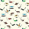 Birch Charley Harper Western Birds White Canvas