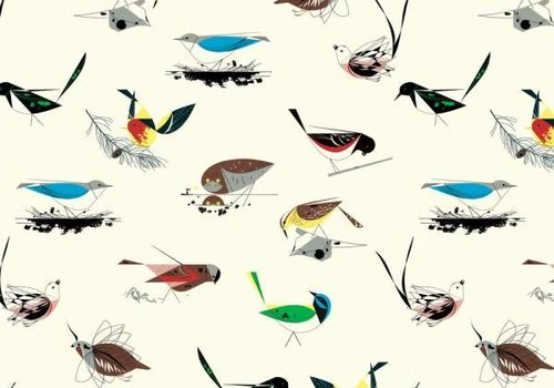 Birch Charley Harper Western Birds White Canvas