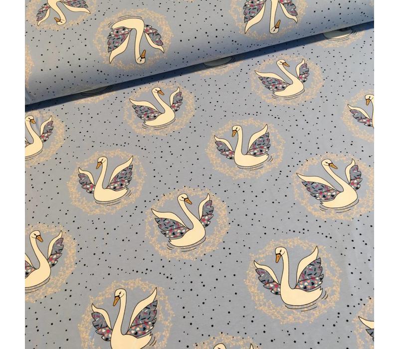 Tricot blue swans