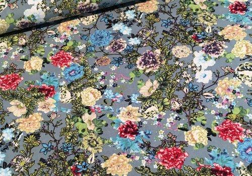 De Stoffenkamer Viscose stretch canvas flowers