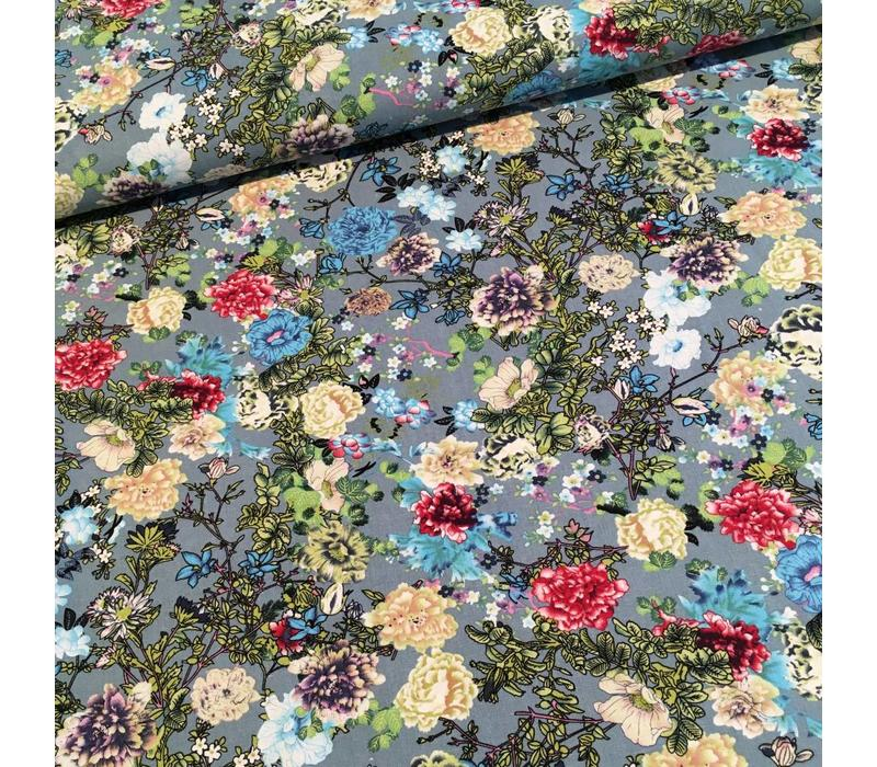Viscose stretch canvas flowers