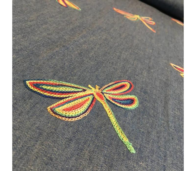 Denim Embroided Flowers