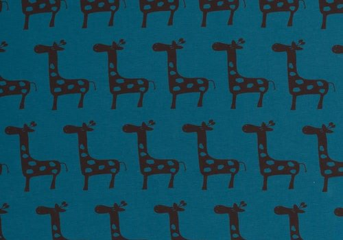 De Stoffenkamer Tricot Giraf Petrolblauw