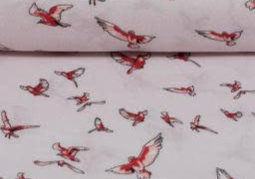 De Stoffenkamer Viscose red birds
