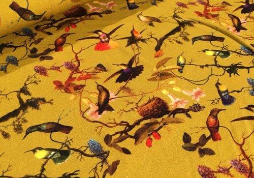 De Stoffenkamer Viscose Tricot mustard birds