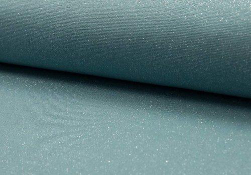 De Stoffenkamer Boordstof Glitter Grijzig Turquoise