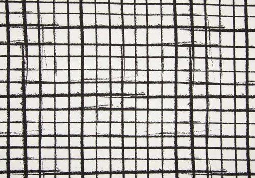De Stoffenkamer Tricot Black & White Grid