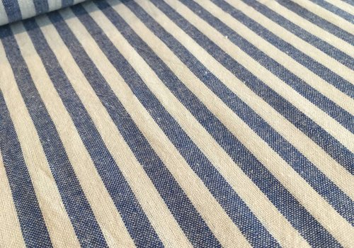 De Stoffenkamer Linen Mix Washed blue stripes
