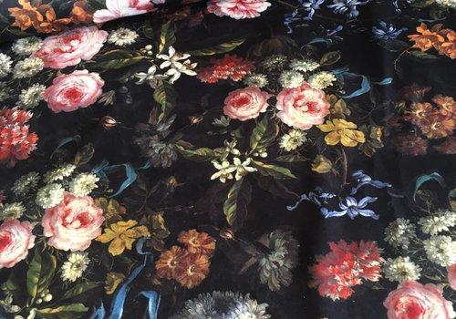 De Stoffenkamer Fluweel Velvet flowers black