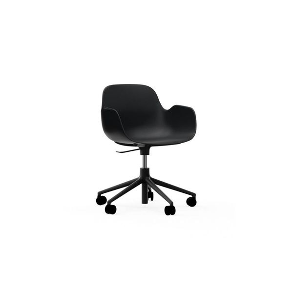 Normann Copenhagen Form Armchair Full Upholstery Black Alu 5W Gaslift