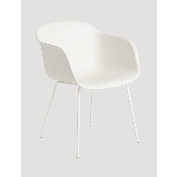 Muuto Showroommodel Fiber Chair normal shell tube base Natural White/White