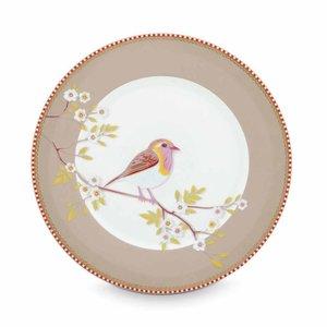 Pip studio Floral ontbijtbord early bird 21 cm khaki