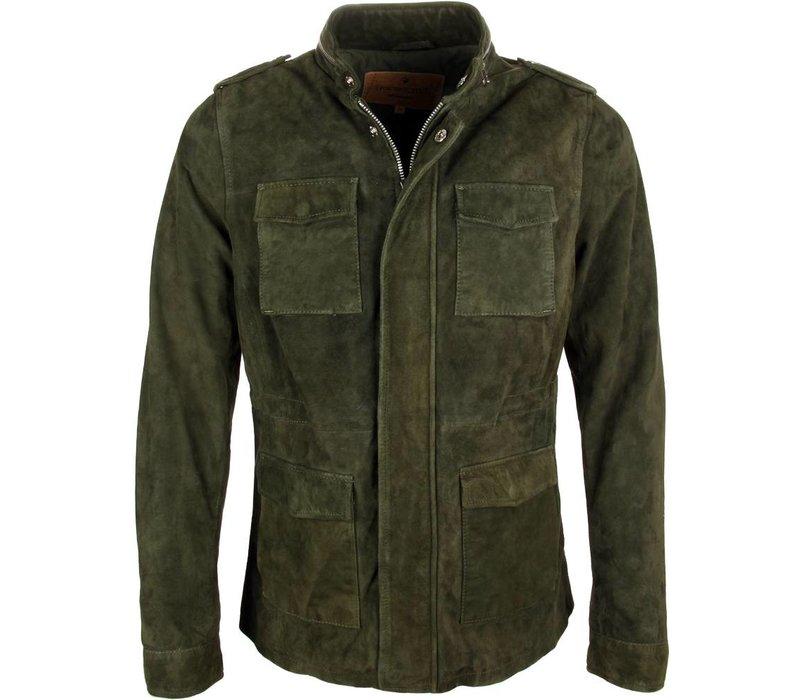 Goosecraft Leren Jas Field Jacket 600 Groen