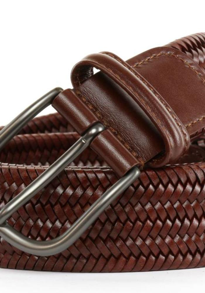 Anderson's Braided Leather Belt Chestnut