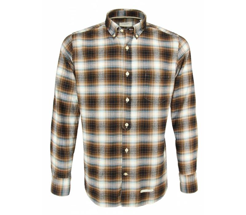 Tintoria Mattei Shirt Tartan Brown Blue