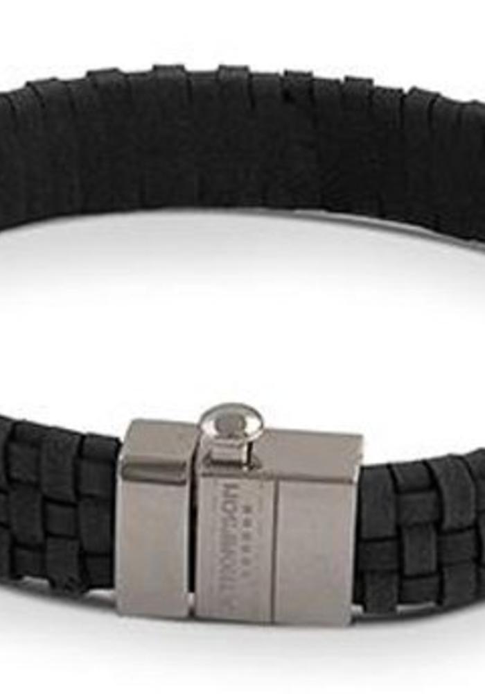 Thompson London Armband Gevlochten Leer Zwart L