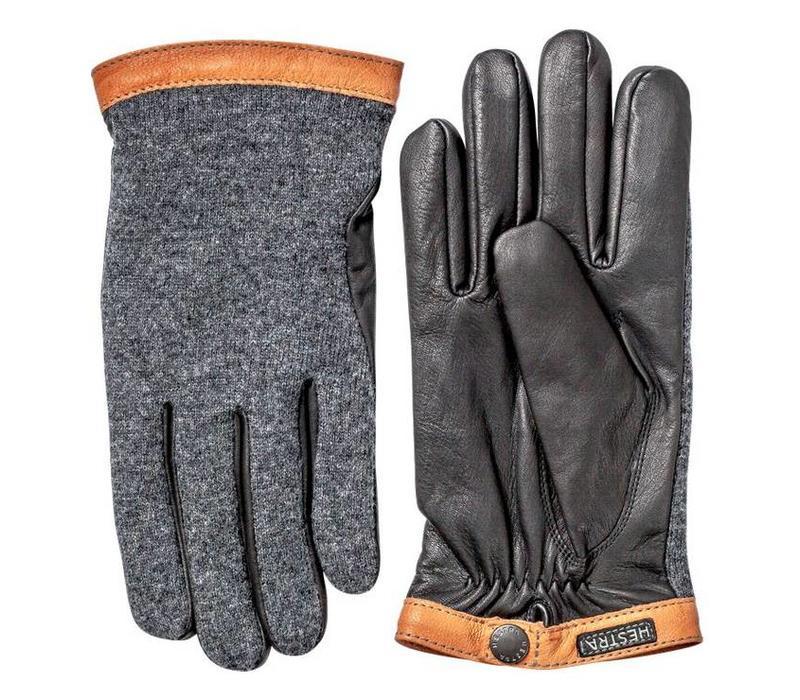 Hestra Deerskin Wool Tricot Gloves Charcoal/Black