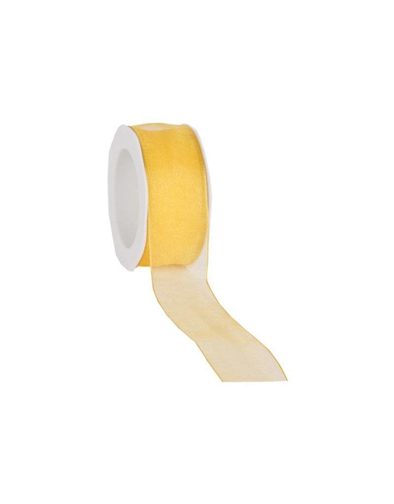organza ribbon wired 25 mm yellow westland verpakkingen