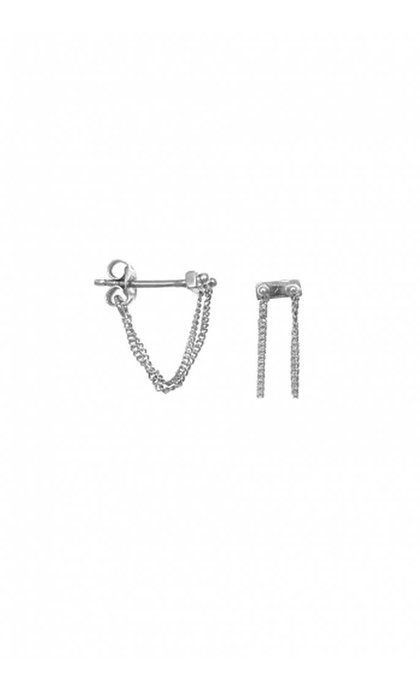 Anna + Nina Rivet two Chain Earring