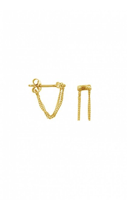 Anna + Nina Rivet two Chain Earring