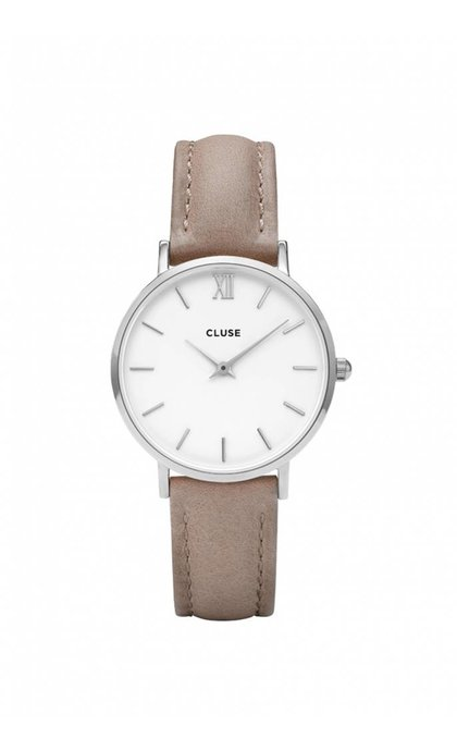 Cluse Minuit CL30044 Silver White Hazelnut